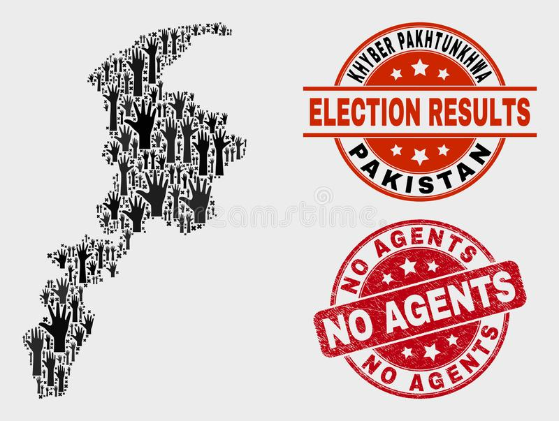 Composition of Voting Khyber Pakhtunkhwa Province Map and Scratched No Agents Seal stock illustration