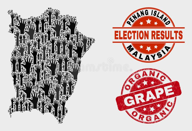 Composition of Voting Penang Island Map and Scratched Organic Grape Watermark. Ballot Penang Island map and stamps. Red round Organic Grape textured seal stamp vector illustration