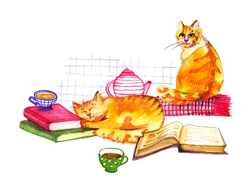 Composition with watercolor cats, books and tea on white background. Watercolor pencils hand drawn illustration. Composition with watercolor cats, books and tea vector illustration