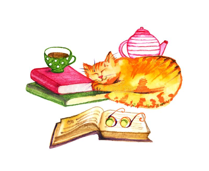 Composition with watercolor cats, books and tea on white background. Watercolor pencils hand drawn illustration. Composition with watercolor cats, books and tea stock illustration