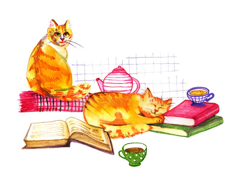 Composition with watercolor cats, books and tea on white background. Watercolor pencils illustration. Composition with watercolor cats, books and tea on white stock illustration