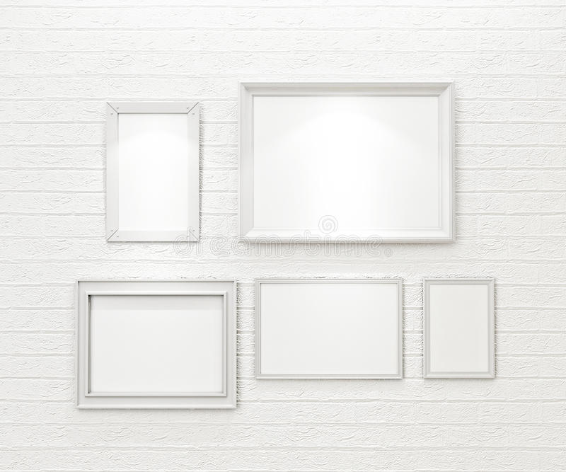 Composition of white blank picture frames on white brick wall with spotlights vector illustration