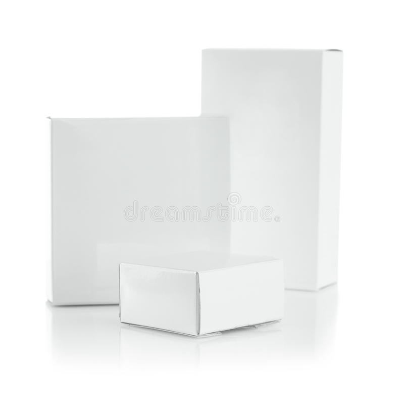 Composition of white boxes stock photography