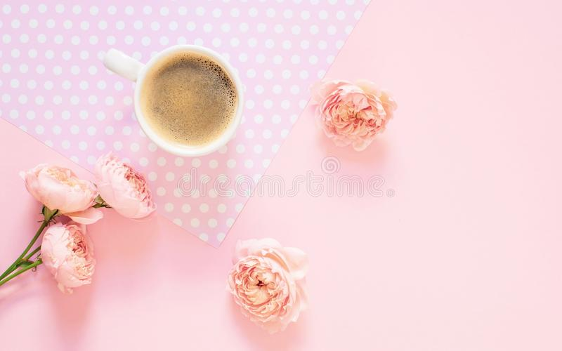 Composition of white cup with black coffee and flowers on a light pink background royalty free stock images
