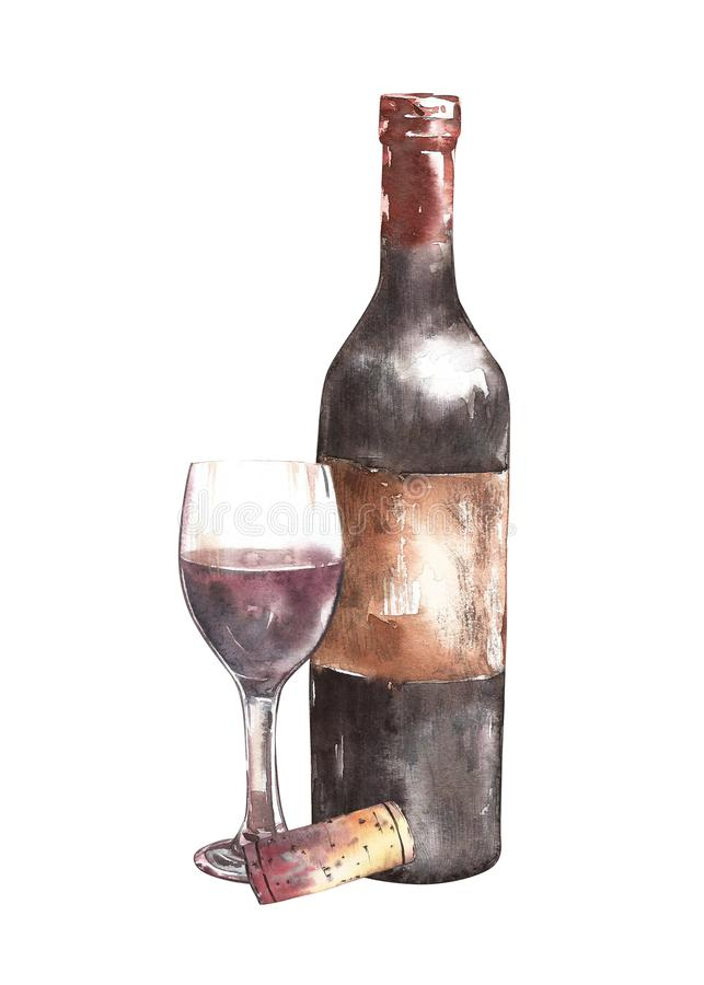Composition with wine bottle, glass and cork. Isolated on white background. Hand drawn watercolor illustration. stock image