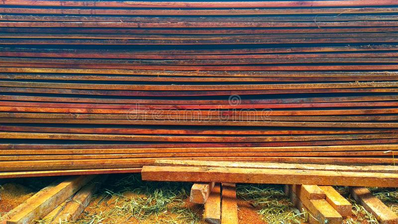 composition of wooden boards for construction of building materials stock photos