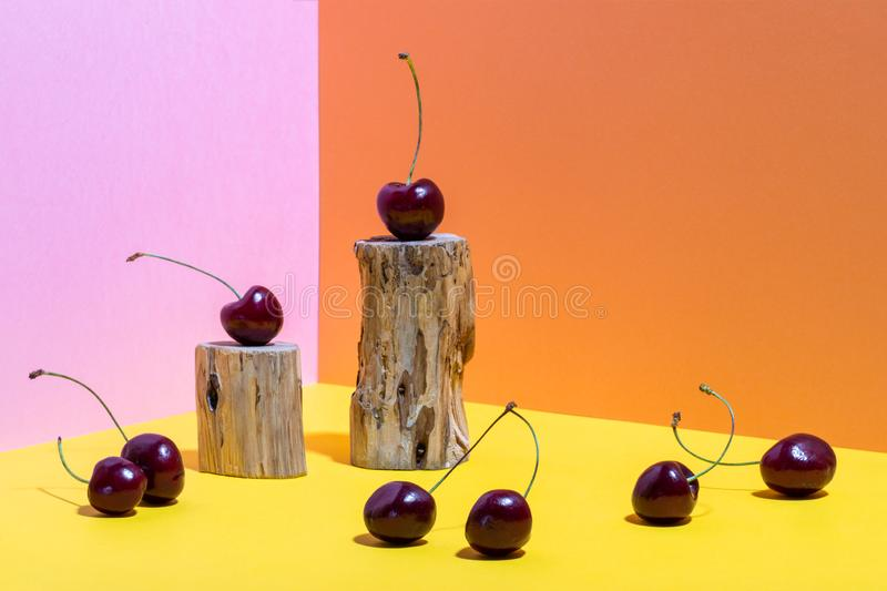 Composition of wooden stumps and cherries on bright pink, yellow and orange background with copy space. Composition of small wooden stumps and cherries on stock photos