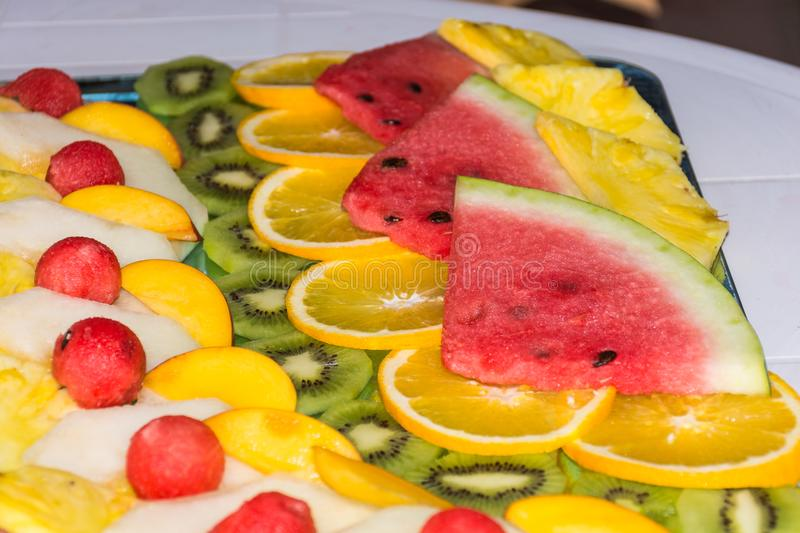 Compositions or architecture of fresh fruit cut for buffets. Compositions or architecture of fresh t cut for buffets. typical summer ts of Sicily, refreshing royalty free stock photo