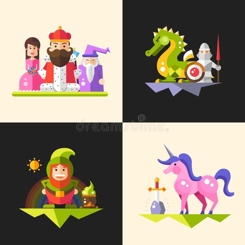 Compositions en personnages de dessin animé magiques de conception plate de contes de fées réglées illustration de vecteur