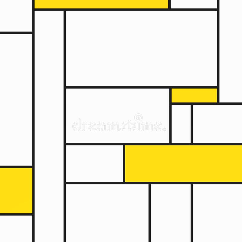 Happy geametric composition of tribute to Mondrian with yellow rectangles. Compositions of geometric pattern with different colors and easy to use for different vector illustration