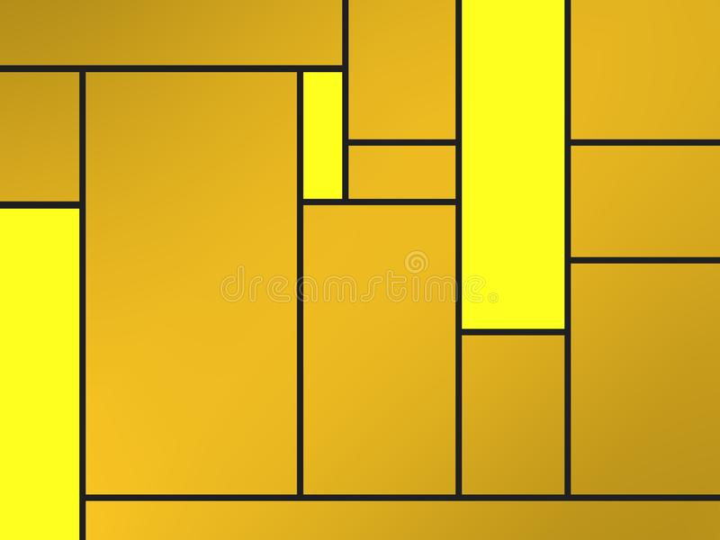 Golden geametric composition of tribute to Mondrian with yellow rectangles. Compositions of geometric pattern with different colors and easy to use for different stock illustration