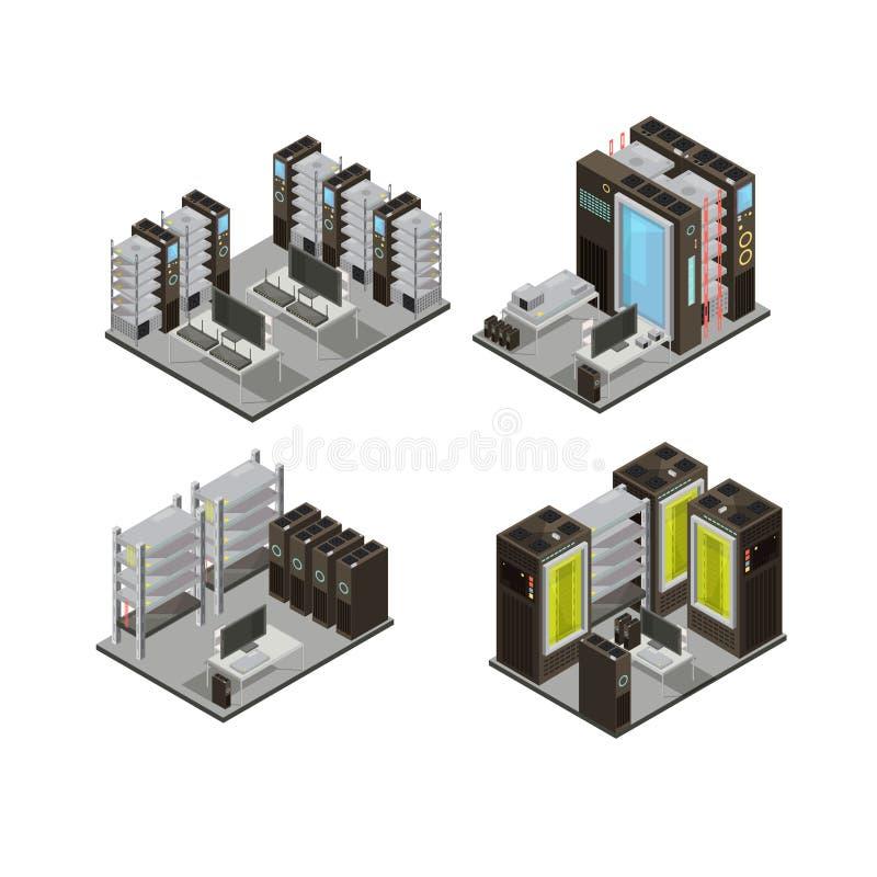 Compositions isométriques en centre de traitement des données illustration stock