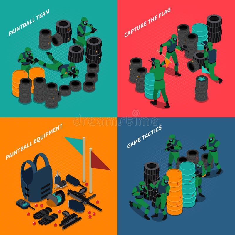 Compositions isométriques en Paintball illustration libre de droits