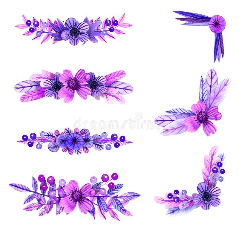 Compositions lilas et roses d'aquarelle des fleurs et de l'elem d'usine illustration libre de droits