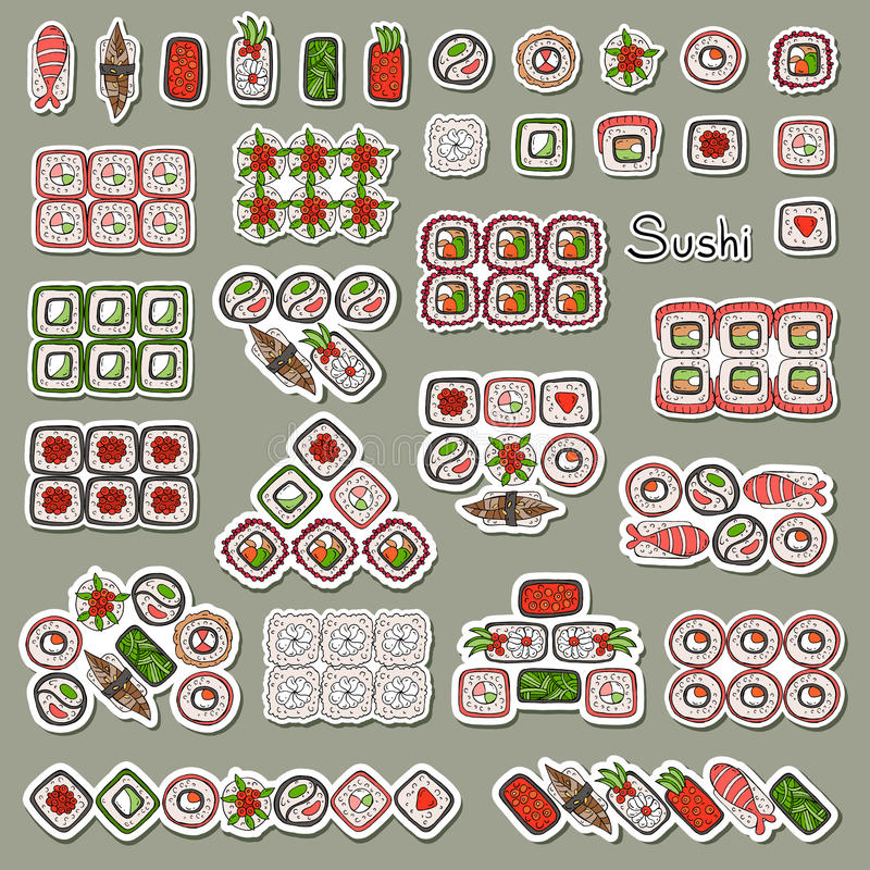 Compositions plates des sushi et des petits pains illustration stock