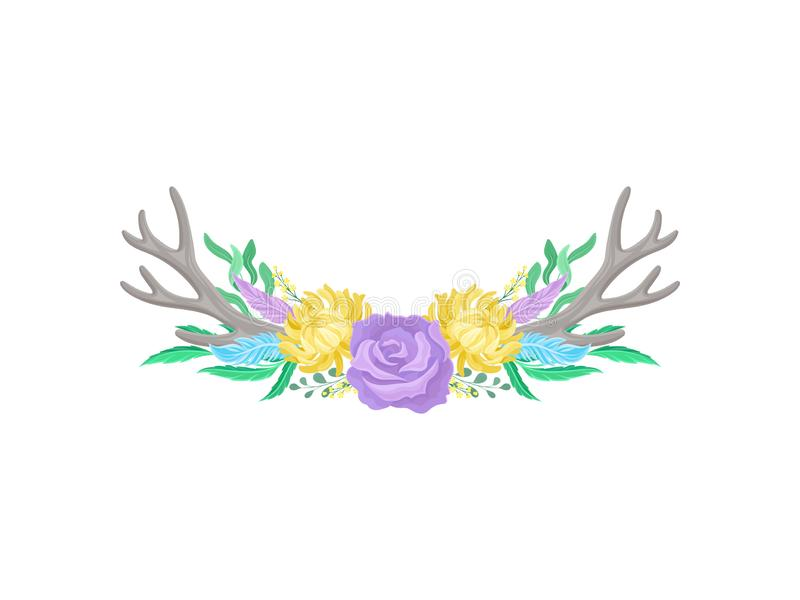 Compositions of purple roses, gray antlers and blue feathers. Vector illustration on white background. Compositions of purple roses, yellow flowers, gray deer royalty free illustration