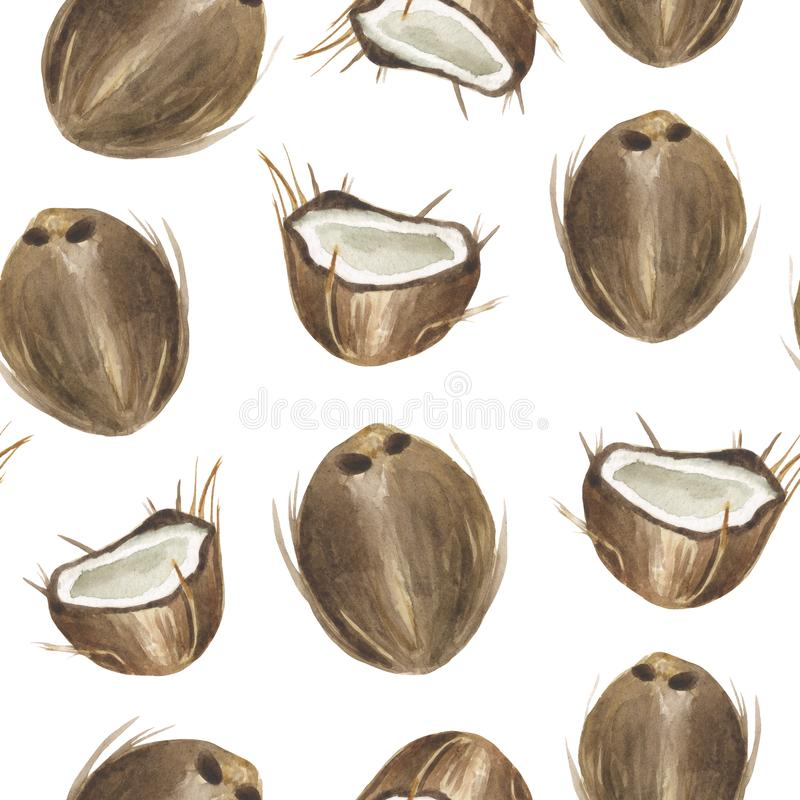 Watercolor seamless tropical pattern of whole and half coconuts on a white background. stock illustration