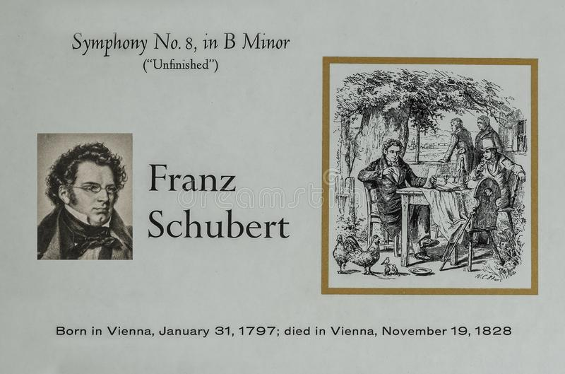 Compositor austríaco Franz Schubert fotos de archivo libres de regalías