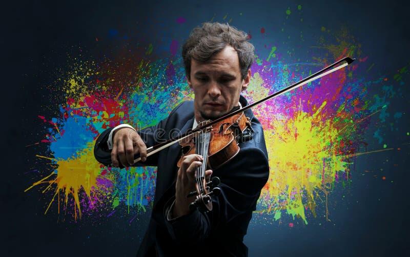 Compositor com splotch e seu violino imagens de stock