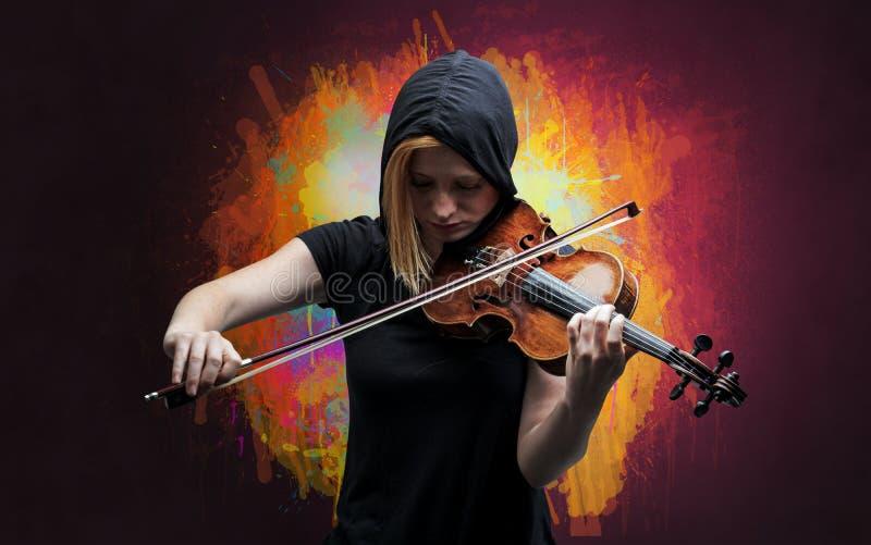 Compositor com splotch e seu violino fotos de stock royalty free