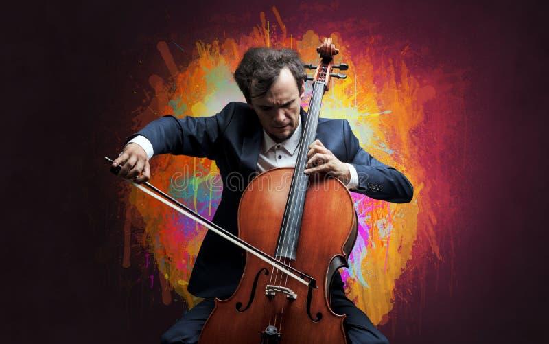 Compositor com splotch e seu violoncelo fotos de stock royalty free