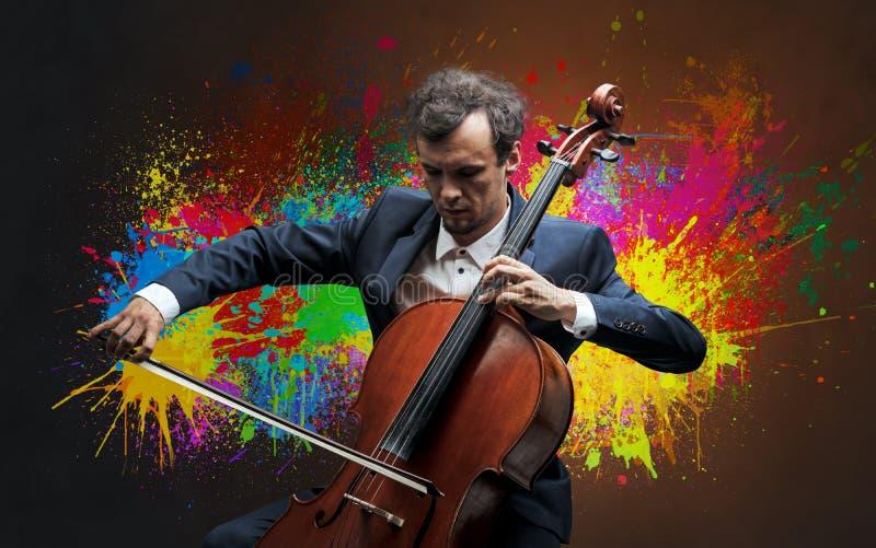 Compositor com splotch e seu violoncelo imagens de stock royalty free