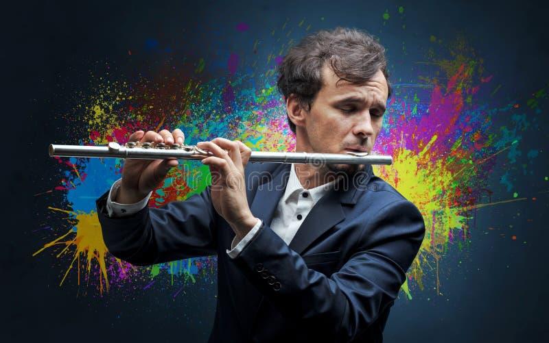 Compositor com splotch e sua flauta imagens de stock
