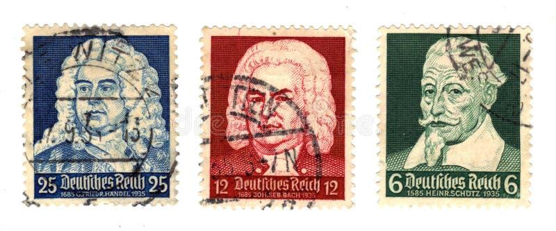 Compositores alemães no selo postal fotografia de stock royalty free