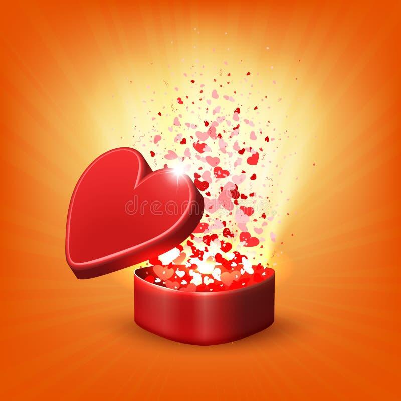 Composizione arancio con una scatola rossa ed i raggi di luce illustrazione vettoriale