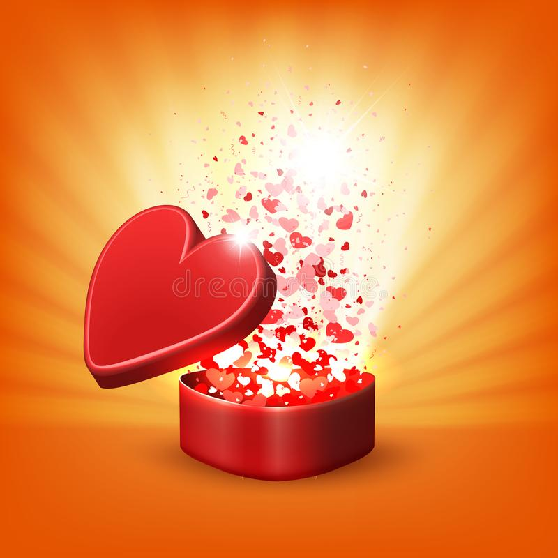 Composizione arancio con una scatola rossa, lotti dei cuori e raggi di luce royalty illustrazione gratis