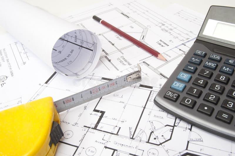 Composizione in architettura con i programmi della casa immagine stock libera da diritti