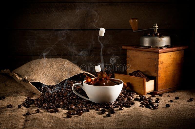 Composizione in arte del caffè: semi di cacao torrefatti sparsi da una borsa, coff immagini stock libere da diritti