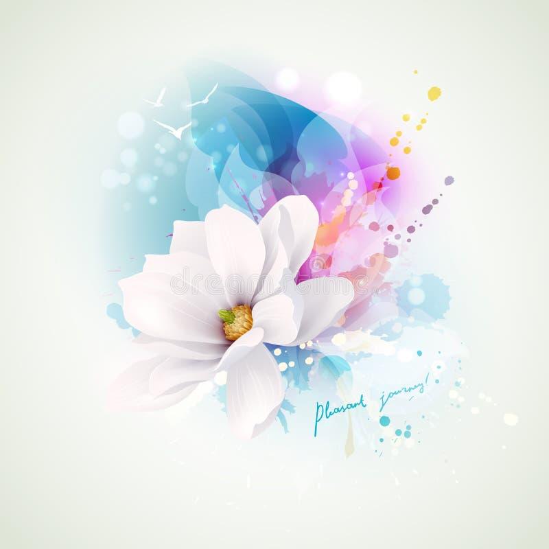 Composizione astratta in alcoolici di vacanza estiva Magnolia bianca di fioritura con l'iscrizione del viaggio con lettere piacev illustrazione di stock