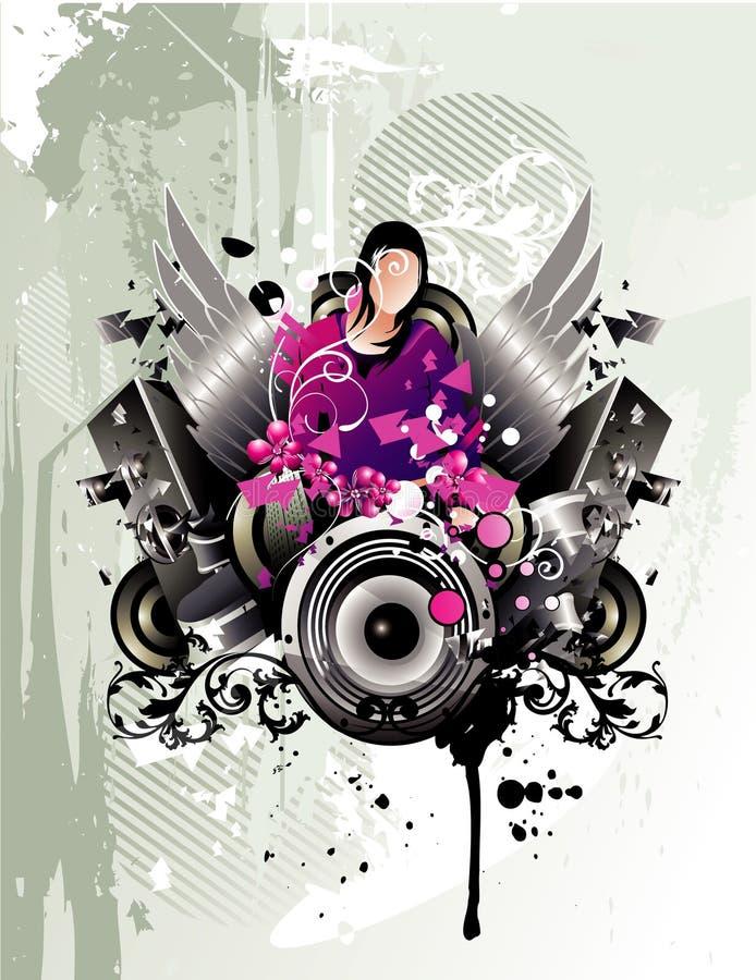 Composizione astratta in colore di musica illustrazione di stock