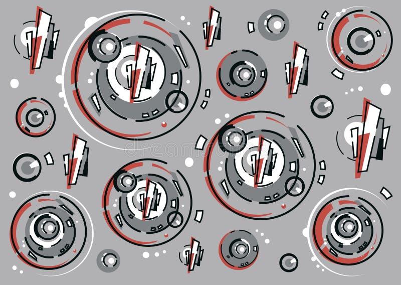 Composizione astratta dei cerchi e delle linee illustrazione vettoriale