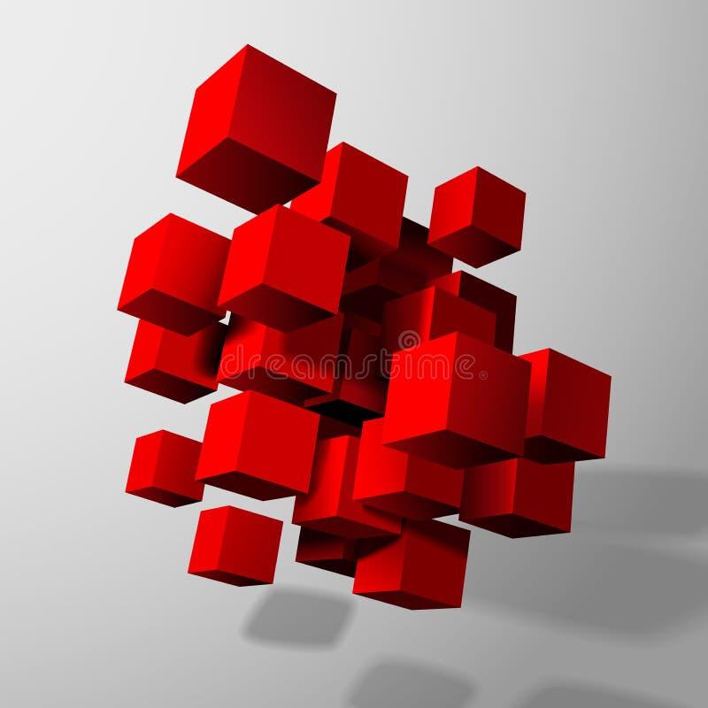 Composizione astratta dei cubi rossi 3d illustrazione for Programmi 3d gratis