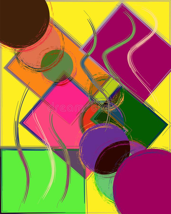 Composizione astratta nel fondo con i quadrati ed i cerchi illustrazione di stock