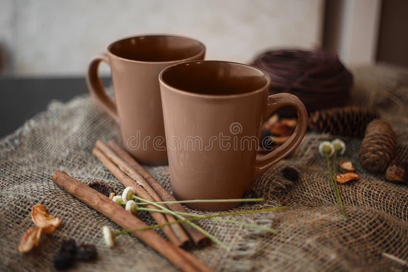 Composizione in autunno: 2 tazze, cannella, pinecones sulla tela fotografia stock