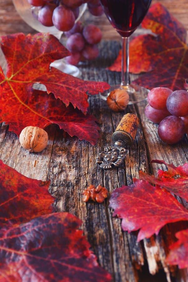 Composizione in autunno: vetro di vino rosso, delle foglie dell'uva rossa e del vint fotografia stock
