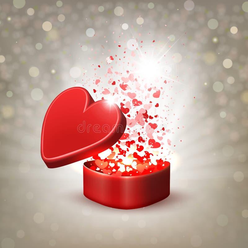 Composizione beige con una scatola rossa ed i lotti dei cuori royalty illustrazione gratis