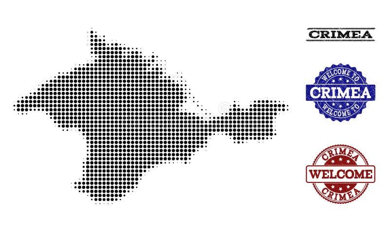 Composizione benvenuta della mappa di semitono della Crimea e dei bolli strutturati royalty illustrazione gratis