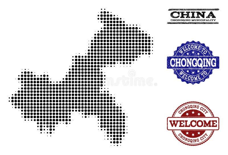 Composizione benvenuta della mappa di semitono dei bolli di lerciume e di Chongqing Municipality royalty illustrazione gratis
