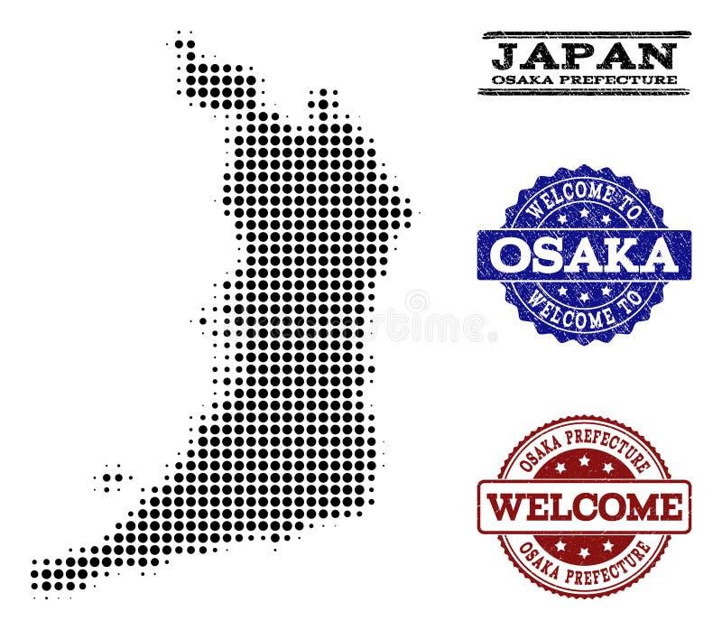 Composizione benvenuta della mappa di semitono dei bolli di lerciume e di Osaka Prefecture royalty illustrazione gratis