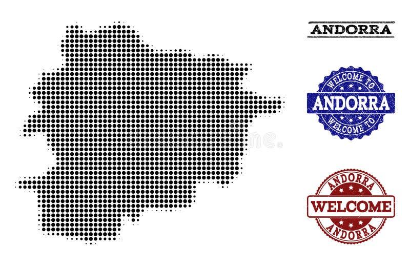 Composizione benvenuta della mappa di semitono delle guarnizioni di emergenza e dell'Andorra illustrazione di stock