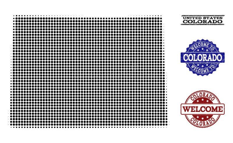 Composizione benvenuta della mappa di semitono dello stato di Colorado e dei bolli graffiati illustrazione vettoriale