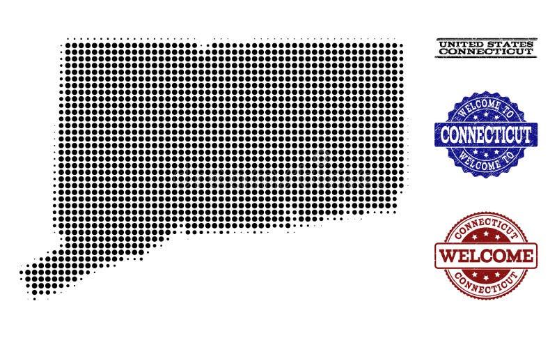 Composizione benvenuta della mappa di semitono dello stato di Connecticut e dei bolli graffiati illustrazione vettoriale
