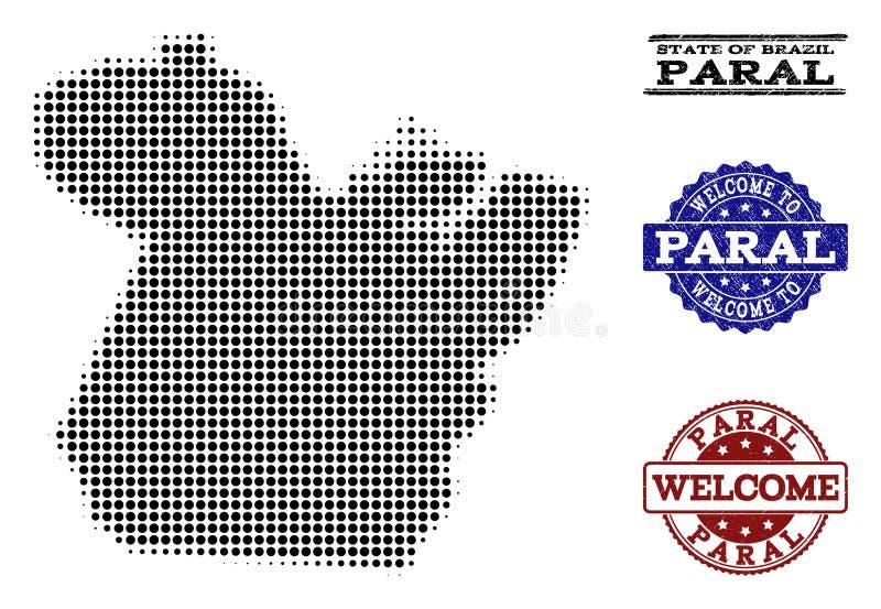 Composizione benvenuta della mappa di semitono dello stato di Paral e dei bolli graffiati royalty illustrazione gratis