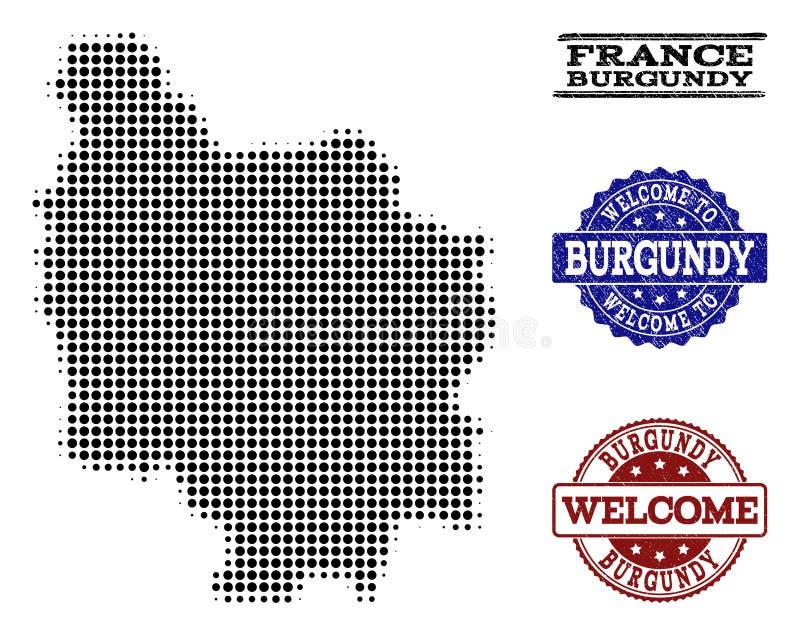 Composizione benvenuta della mappa di semitono della provincia di Borgogna e dei bolli graffiati illustrazione di stock