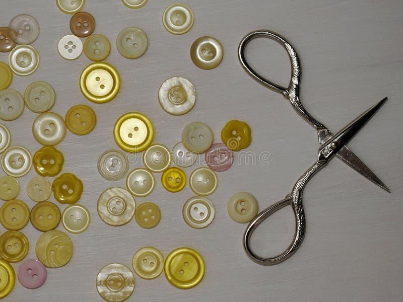 Composizione con i fili e gli accessori di cucito su un fondo bianco, disposizione piana immagine stock libera da diritti