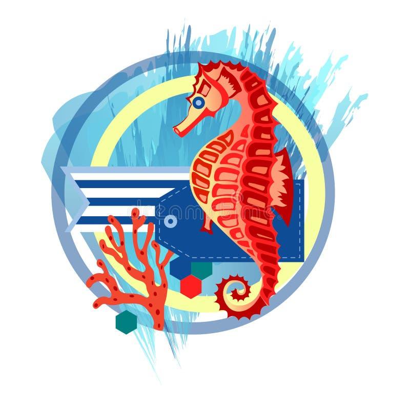 Composizione con l'ippocampo royalty illustrazione gratis
